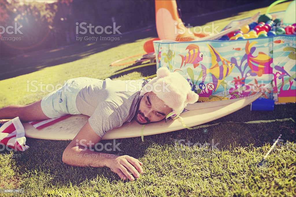 Passed out in the garden stock photo