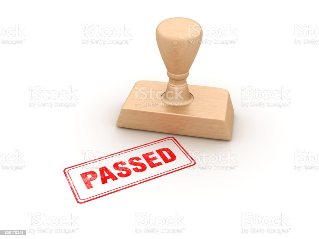 Passed Rubber Stamp - 3D Rendering stock photo