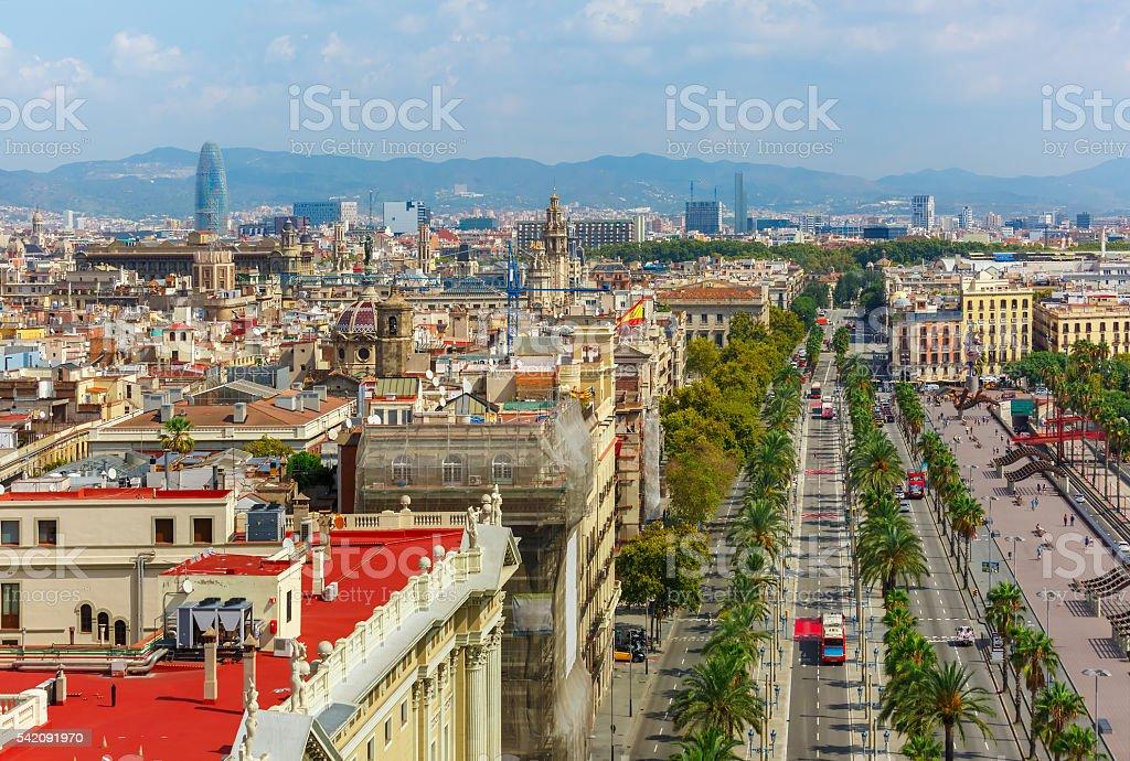 Passeig de Colom in Barcelona, Catalonia, Spain stock photo
