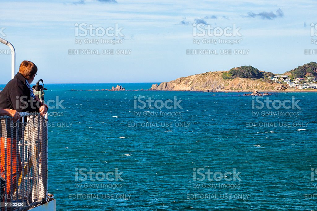 Passenger aboard ferry on the Cook Strait in New Zealand stock photo
