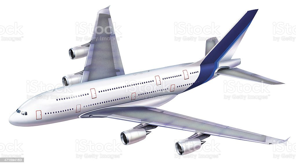 Passenger aircraft 380 viewed from above in perspective. royalty-free stock photo