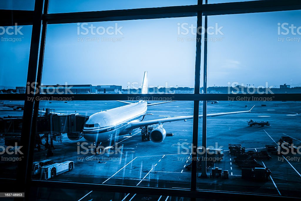 passenger aircraft maintenance before flight royalty-free stock photo