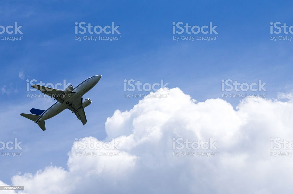 Passenger Airplane After Take-Off stock photo