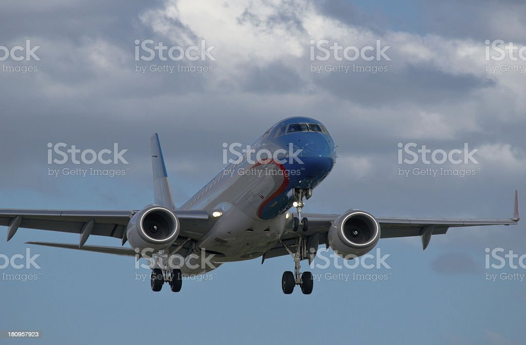 Passenger airplane few moments before landing royalty-free stock photo