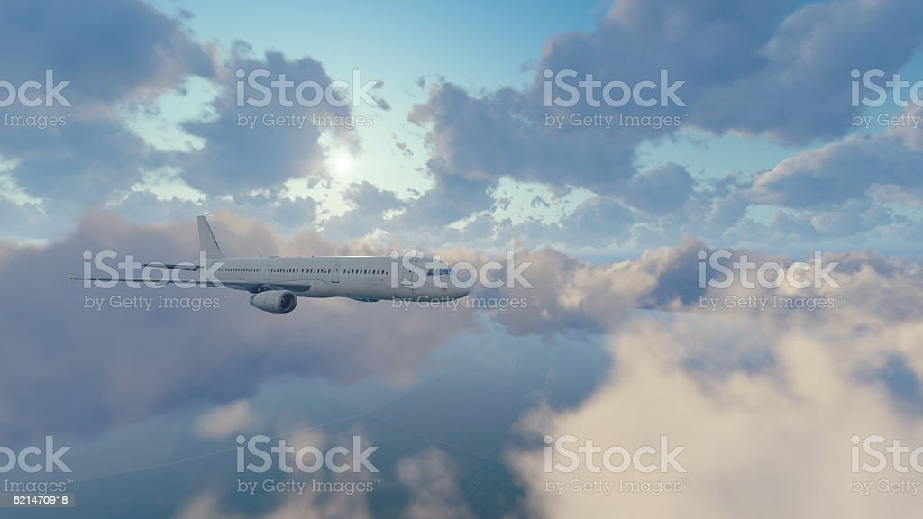 Passenger airplane in sunny sky with clouds stock photo