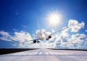 Passenger airplane Landing on pist