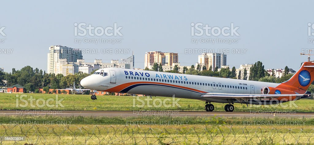 Passenger airplane McDonnell MD-83 take off stock photo