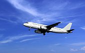 Passenger airplane take off under cloudy blue sky