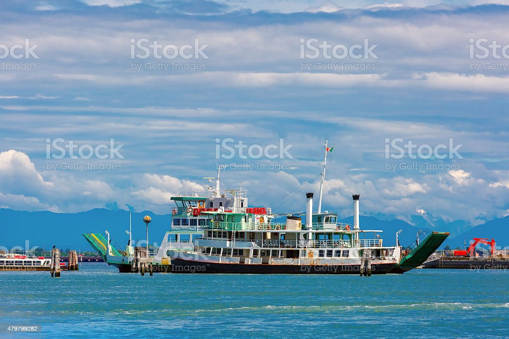 Passenger and cargo ships in the Venetian lagoon stock photo