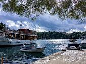 Passenger boat and fishing boats_cavtat port_croatia