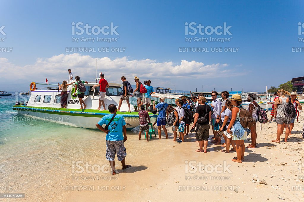Passenger boat in the Gili Islands in Lombok, Indonesia stock photo