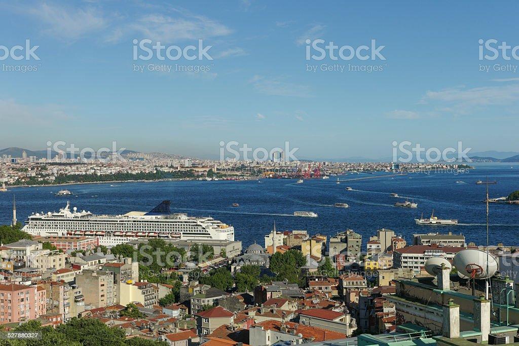 passenger boats at bosphorus istanbul turkey stock photo