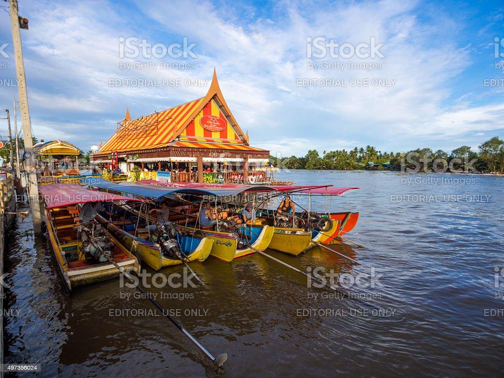Passenger boats in Amphawa Floating Market stock photo