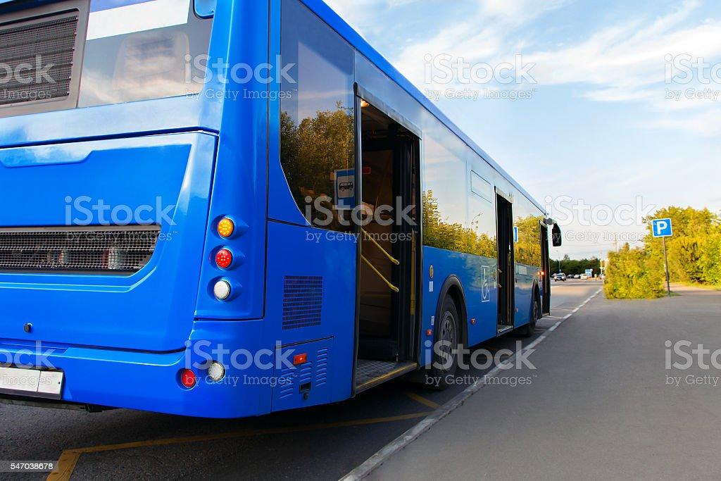passenger bus blue stock photo