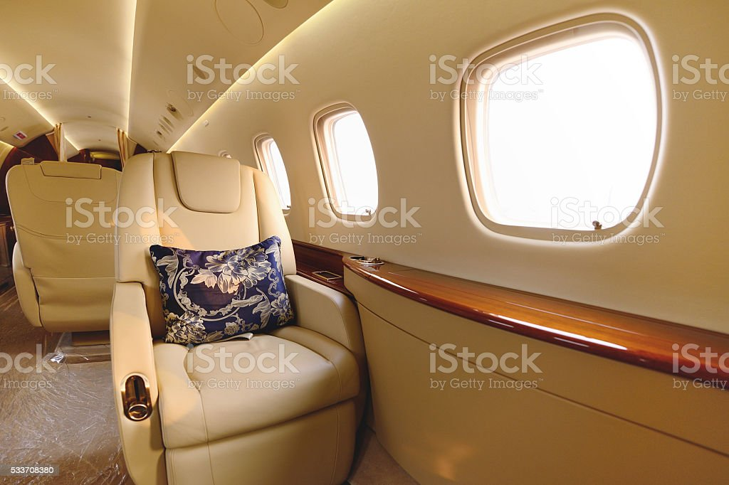 Passenger Cabin Single Seat stock photo