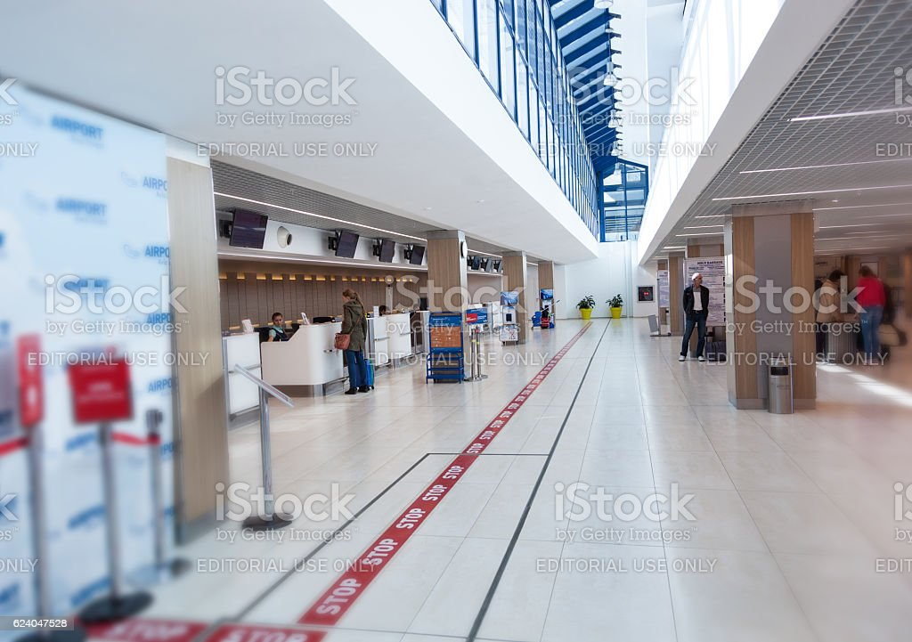 Passenger check-in area in a international airport in Chisinau stock photo