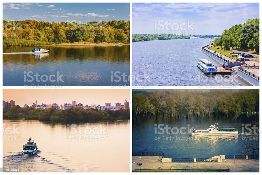 Passenger Cruise Ship On River. Set, Collage royalty-free stock photo