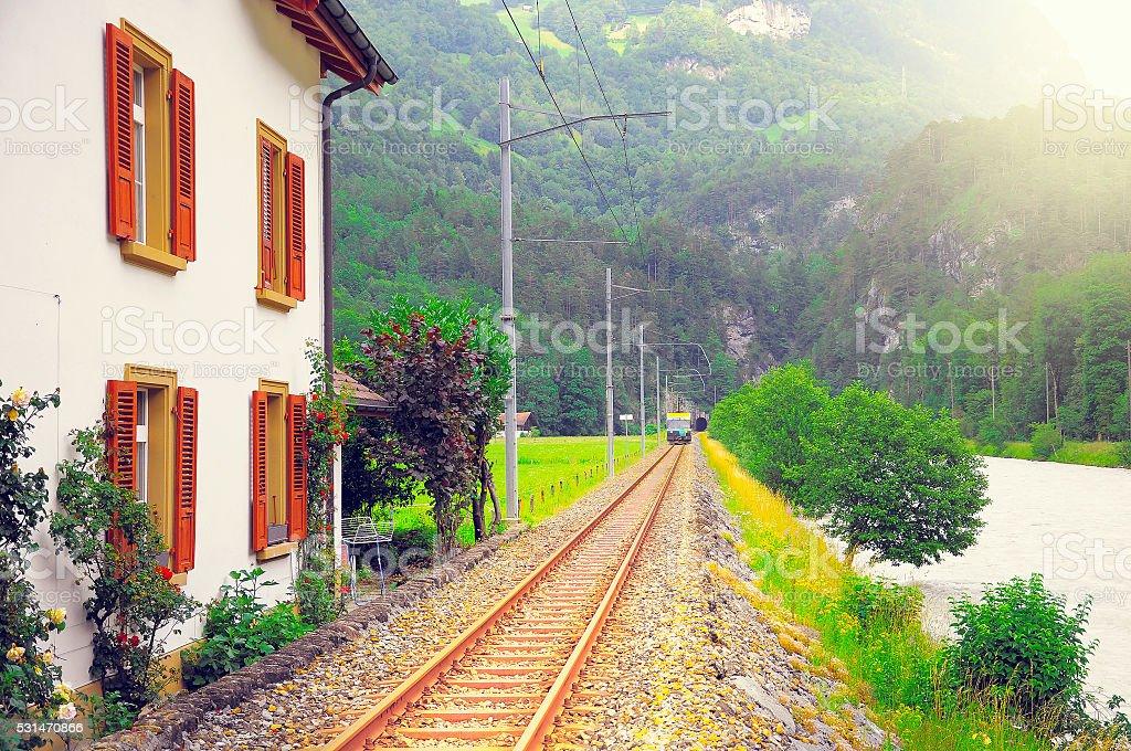 Passenger eletric tramway moves to Meiringen. stock photo