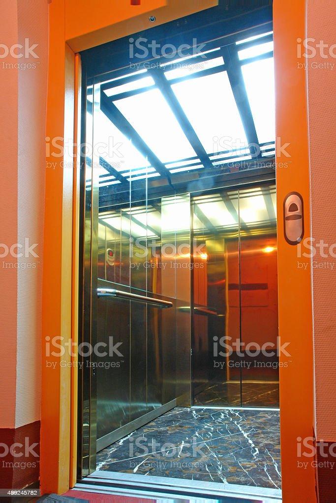 passenger elevator cabin stock photo
