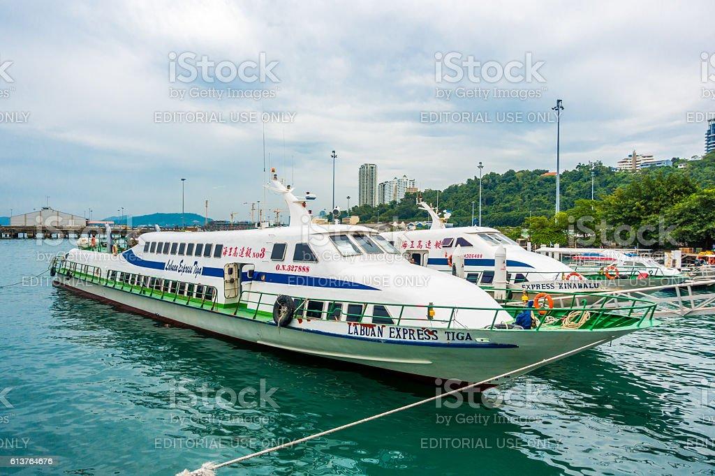 Passenger Ferries Kota Kinabalu, Malaysia stock photo