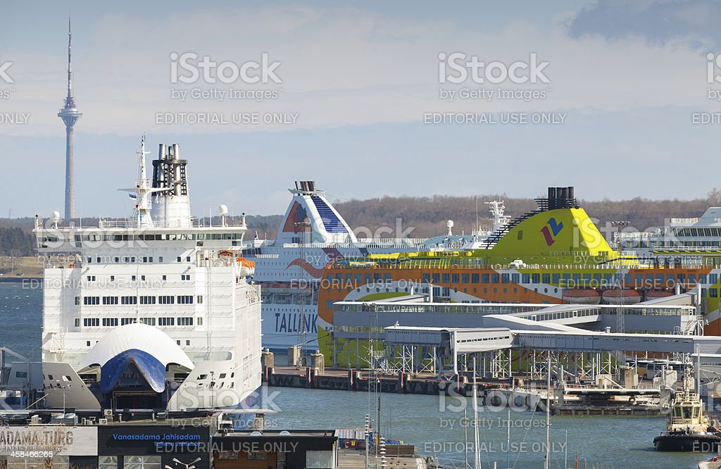 Passenger ferries moor in port of Tallinn royalty-free stock photo