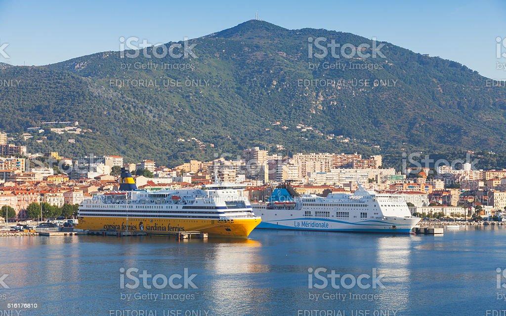 Passenger ferries moored in Port of Ajaccio stock photo