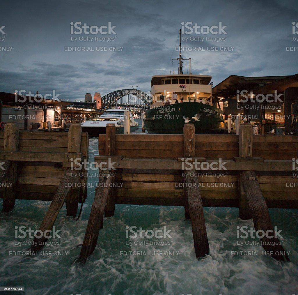 Passenger ferry at Circular Quay, Sydney, Australia stock photo