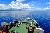Passenger ferry crossing Somosomo Strait between Taveuni and Van