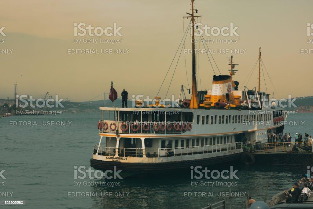 Passenger Ferry Docked on Eminonu Terminal in Istanbul stock photo