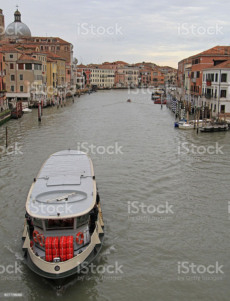 passenger ferry floating by grand canal in Venice stock photo