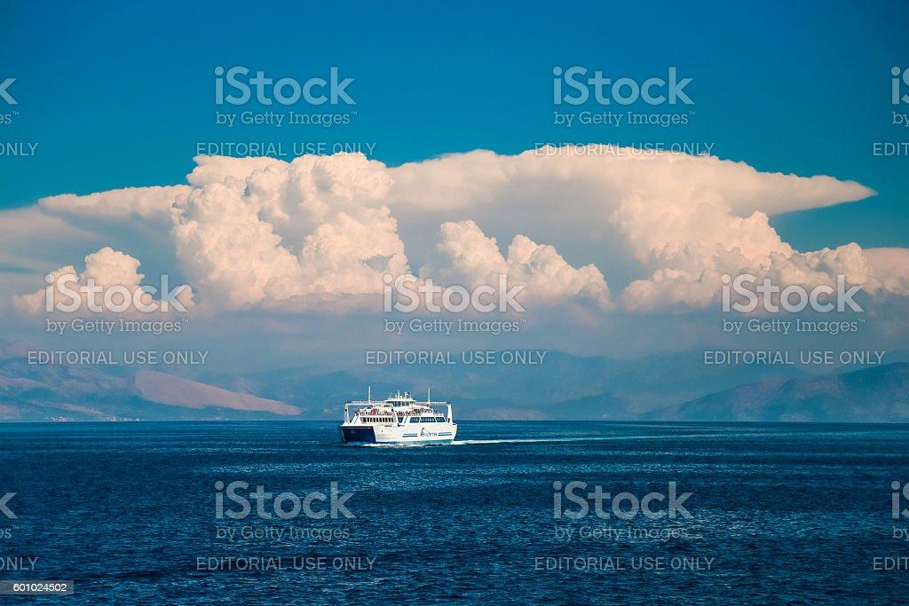 Passenger ferry, Ionian sea,Greece stock photo