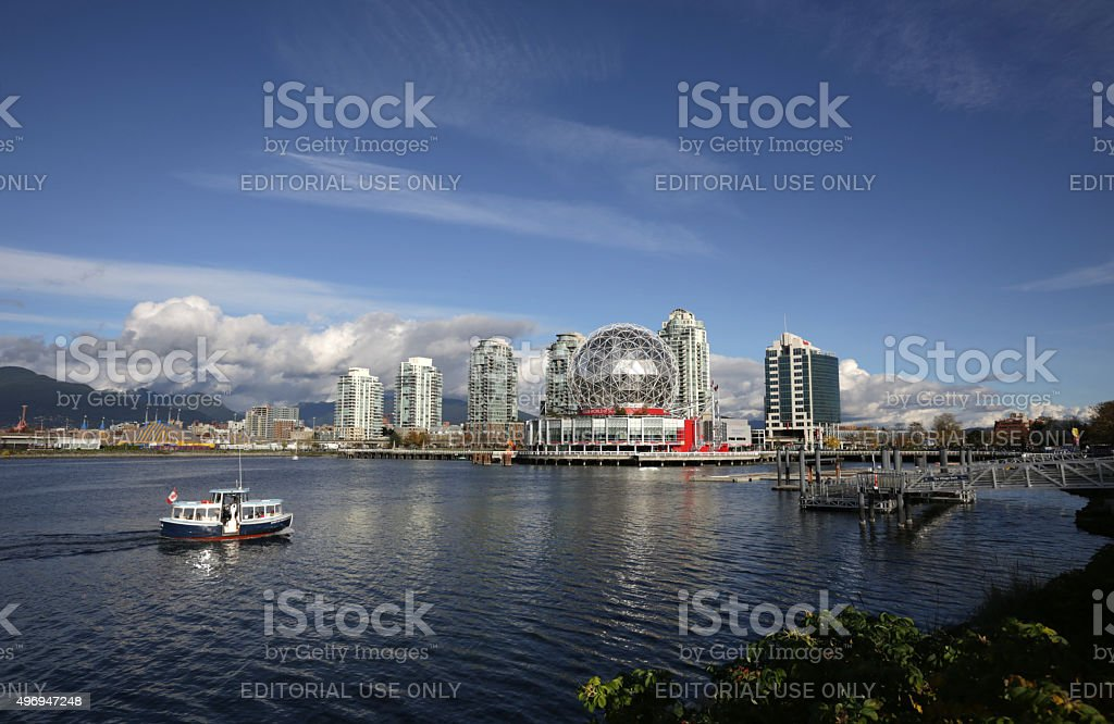 Passenger Ferry on False Creek, Vancouver, Canada in Autumn stock photo