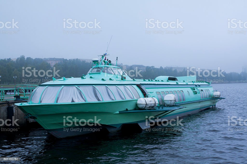 Passenger hydrofoil boat on the docks of Onego lake. stock photo