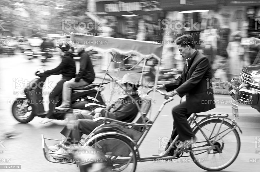 Passenger In A Rickshaw In Hanoi, Vietnam royalty-free stock photo