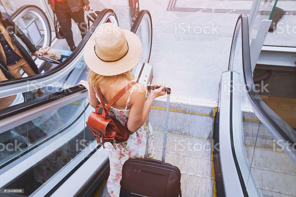passenger in airport stock photo