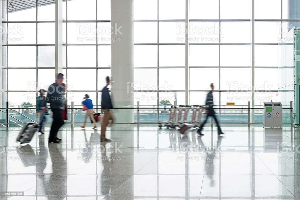 passenger in the shanghai pudong airport stock photo