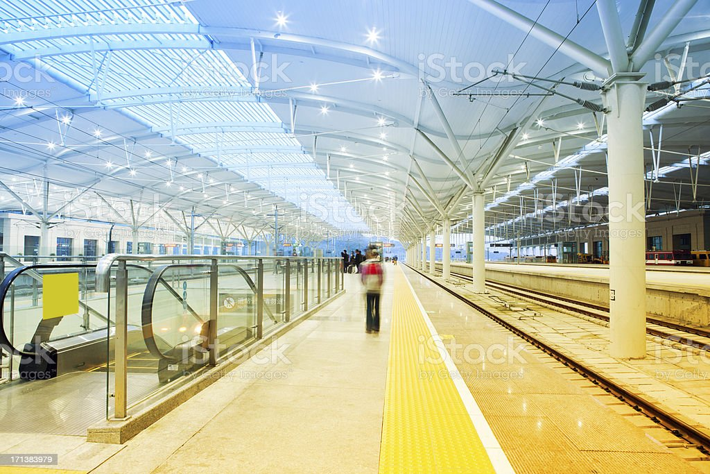 passenger in train station royalty-free stock photo