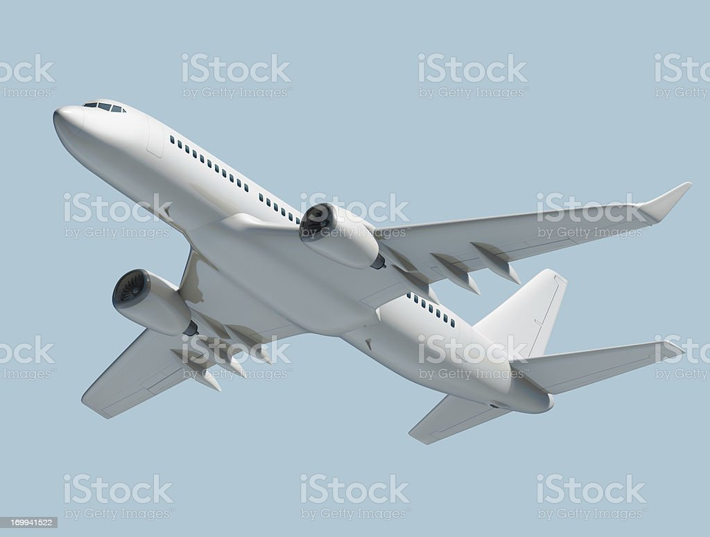 Passenger jet airplane isolated on blue background royalty-free stock photo