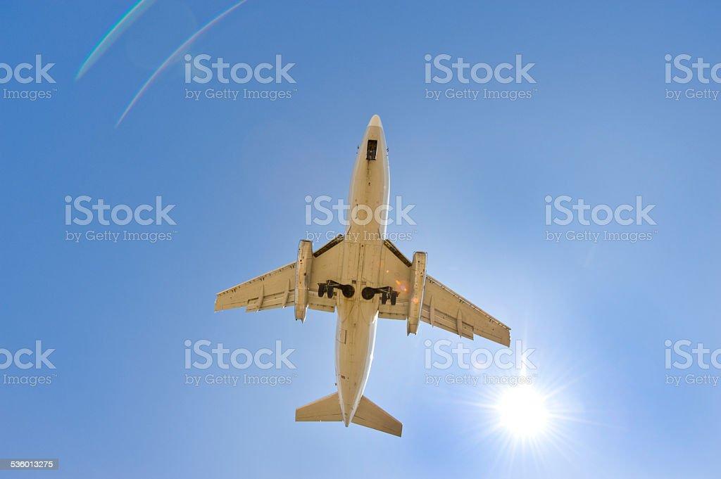 Passenger Jet landing in Iqaluit, Nunavut, Canada. stock photo