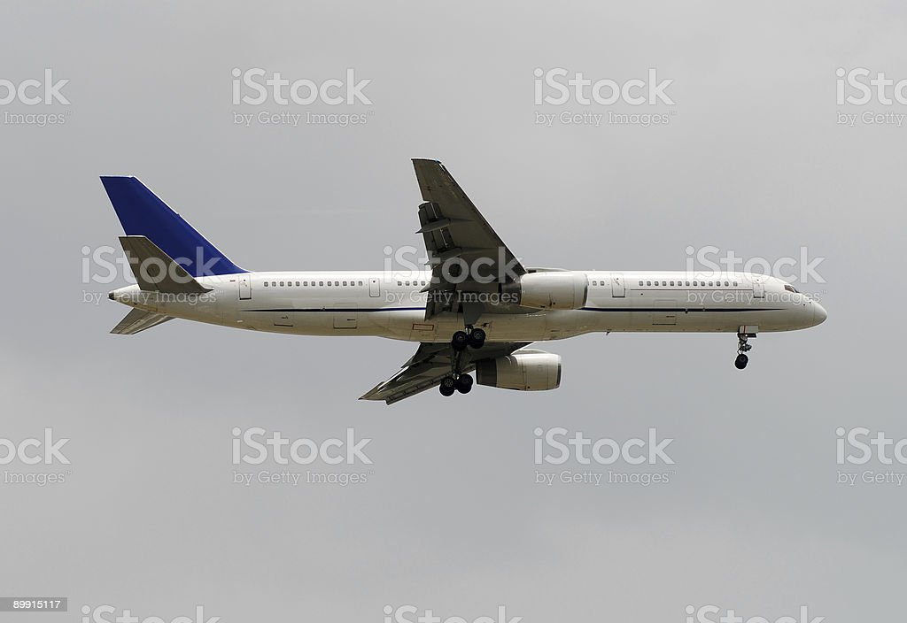 Passenger jet side view stock photo