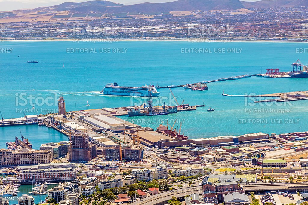 Passenger liner arriving at Cape Town harbour stock photo