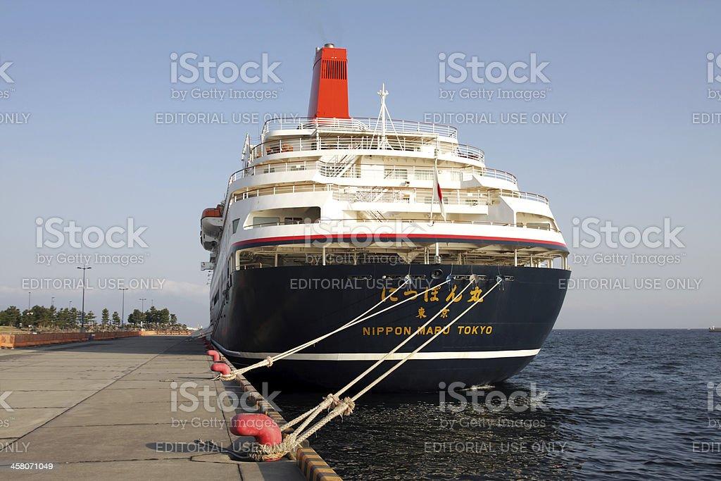 Passagier Liner Nippon Maru im Marine Hafen von Kagoshima Lizenzfreies stock-foto