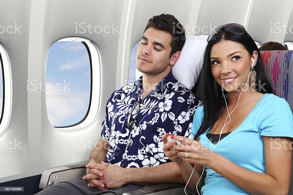 Passenger Listening To Music royalty-free stock photo