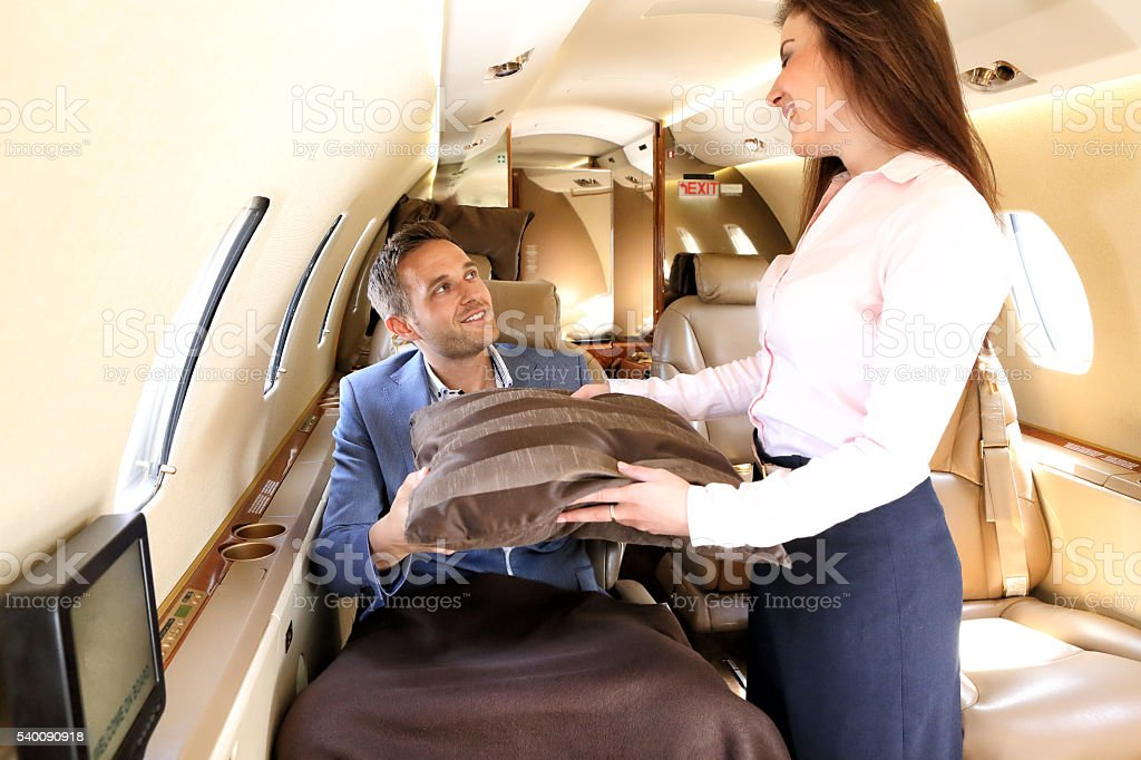 Passenger of the executive jet before taking a rest stock photo