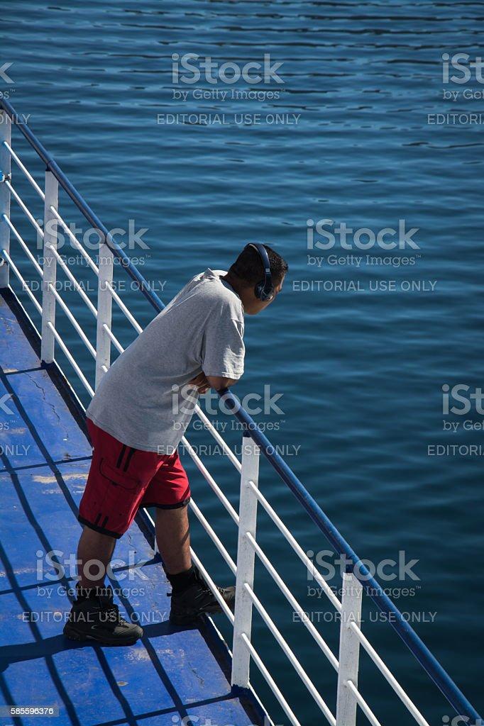 Passenger on ferry stock photo