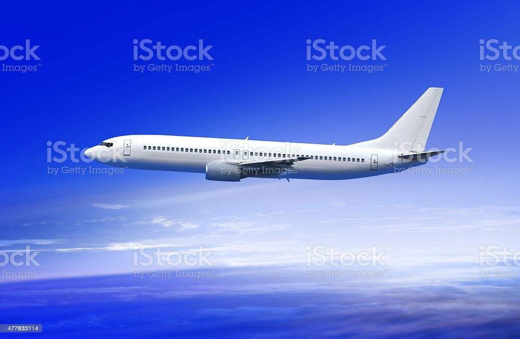 passenger plane in cloud stock photo