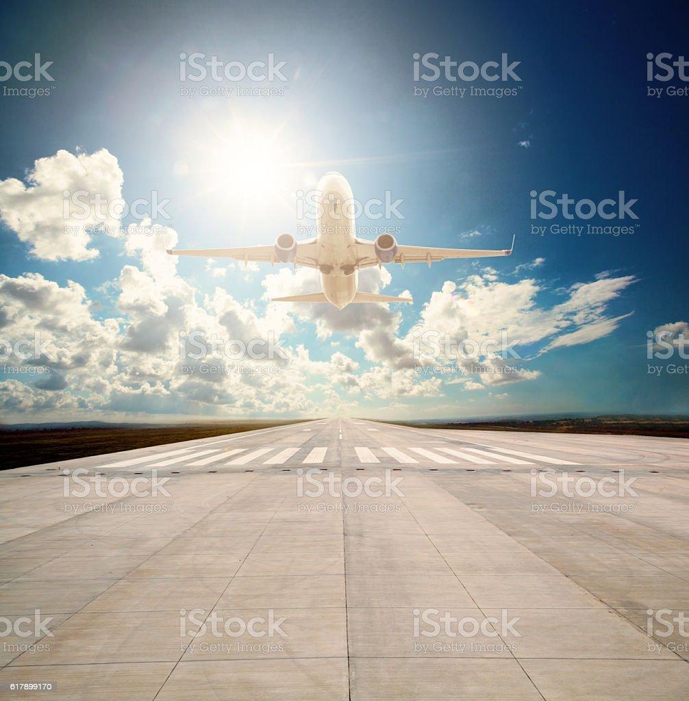 Passenger plane take off stock photo