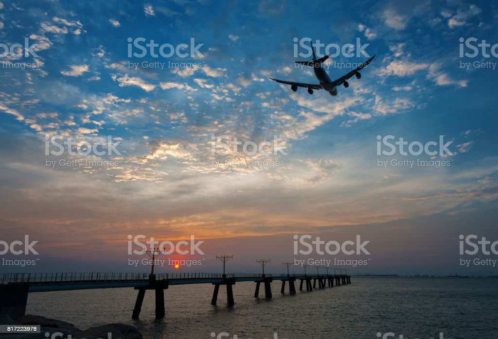passenger plane take-off stock photo
