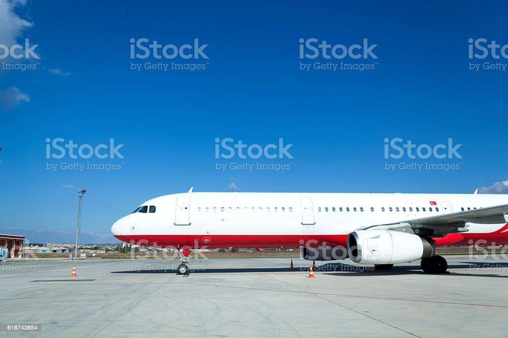 Passenger Plane Waiting on Airport stock photo