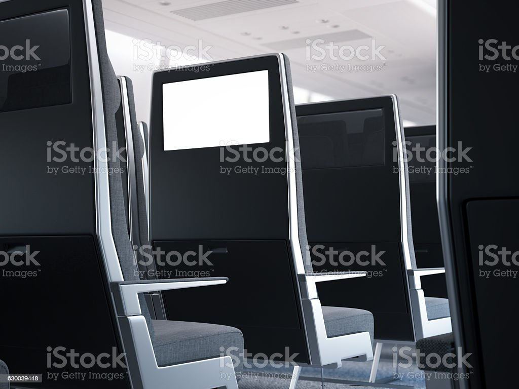Passenger seats with aircraft monitors. 3d rendering stock photo